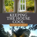 Pinterest pin for how to keep the house cool without electricity or ac. Images of an open window and a tree creating shade.