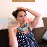 Pinterest pin for how to keep the house cool without electricity or ac. Images of a woman sitting on a couch with a frozen towel around her neck.