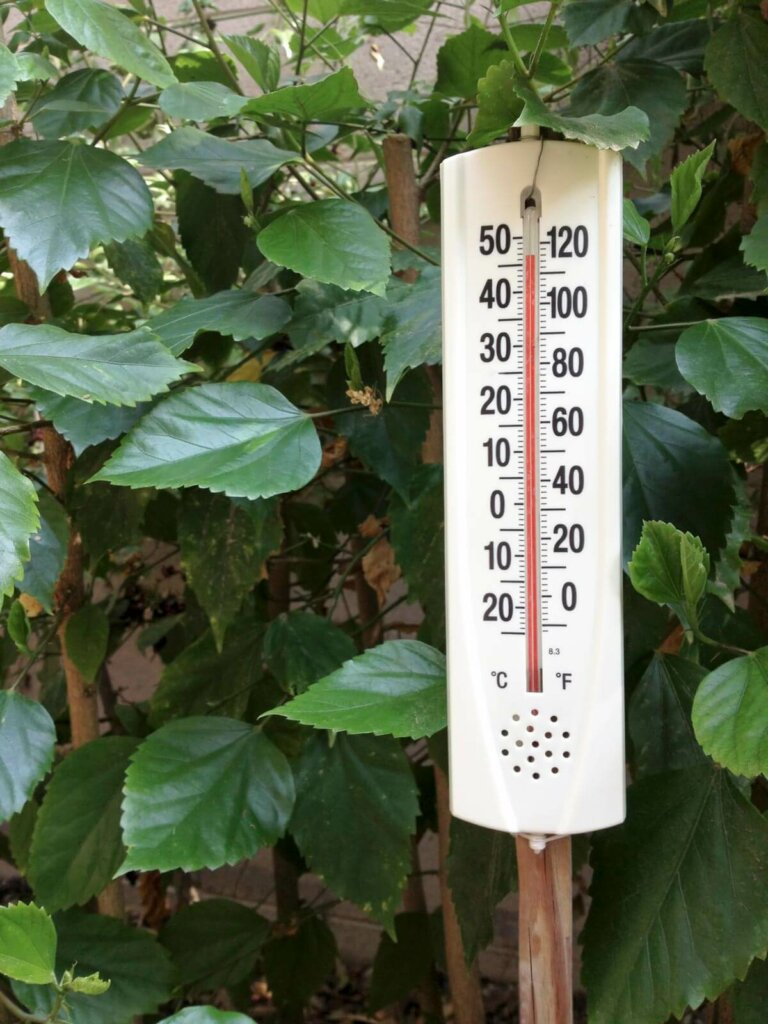 An outdoor thermostat reading at 110 degrees F.