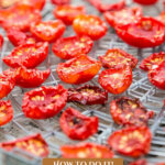Pinterest pin for a one year hand-harvested food challenge. Image of dried tomatoes in a dehydrator.
