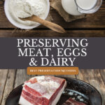 Pinterest pin for preserving milk, cheese, eggs, and meat with images of freeze dried milk and cured meat.
