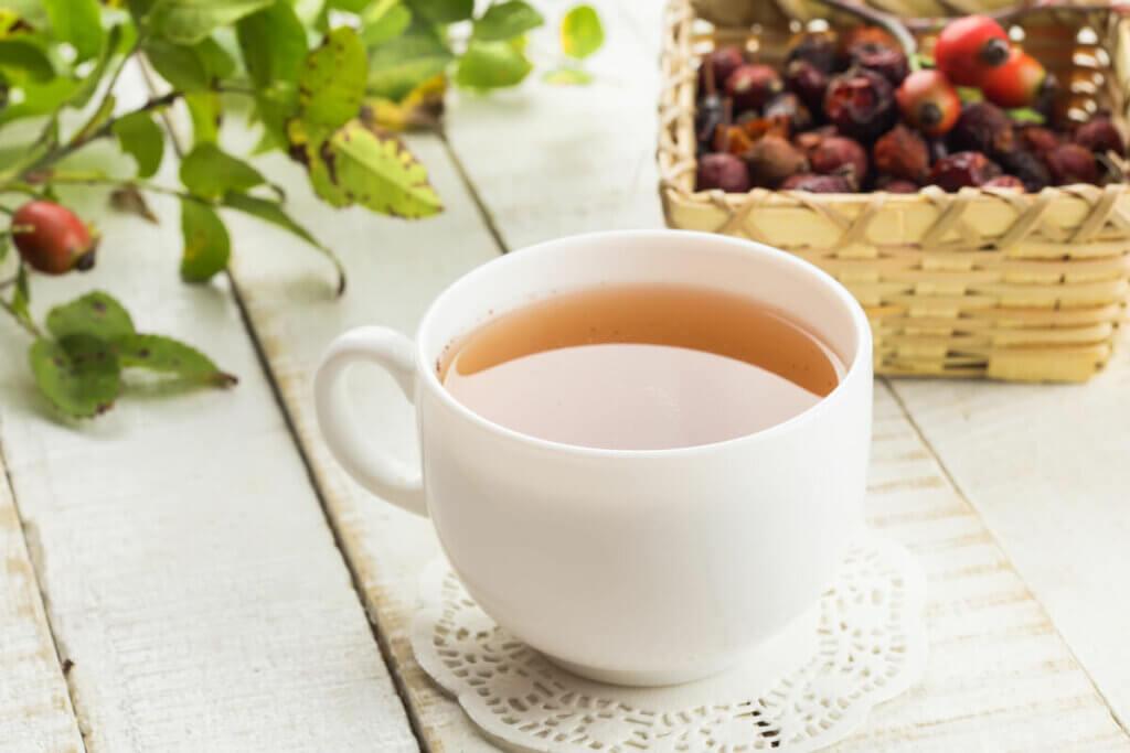 Rosehip tea in a white teacup.